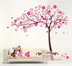 girl wall decal tree Sticker Nature Tree Wall decals Nursery wall decal- floral tree cherry blossom Z117 by cuma by Cuma wall decals, $77.00 USD