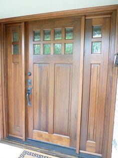 Exterior Doors   craftsman style front door with sidelites   Bayer Built Woodworks