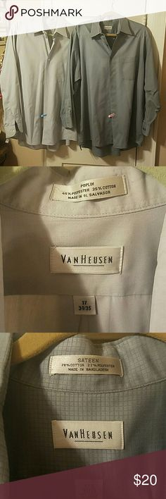 VAN HEUSEN SHIRTS / BUNDLE OF 2 Bundle of 2 Shirts: #1 - Poplin shirt in light gray is 65% Polyester 35% Cotton.  Size 17 Neck, 34/35 Sleeve  #2 - Sateen shirt in gray is 78% Cotton 22% Polyester.  Size 17 1/2 Neck, 35/35 Sleeve  Good used condition. Van Heusen Shirts Dress Shirts