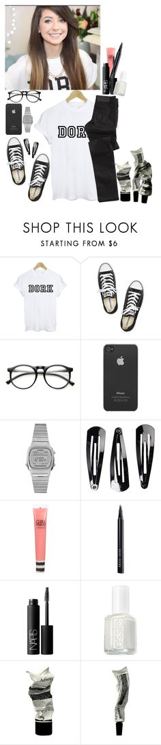 """""""Zoella"""" by zuzmotylda ❤ liked on Polyvore featuring Cheap Monday, Converse, INDIE HAIR, Incase, Casio, NLY Accessories, Topshop, Bobbi Brown Cosmetics, NARS Cosmetics and Essie"""
