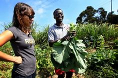 Rashida Jones with a refugee from Liberia, at the IRC's New Roots farm in San Diego Urban Farming, Urban Gardening, Green Revolution, International Health, Rashida Jones, New Roots, Farm Gardens, Michelle Obama, Just Amazing