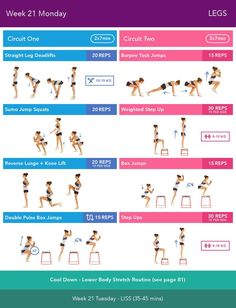 Week 21 Monday Bikini Body Guide 2.0 by Kayla Itsines, weeks 13-24 (complete)