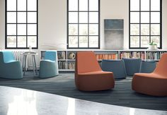 Your seating should have as much personality as the people using it. Seating that is playful, movable, colorful, and creative is a perfect fit for collaborative touchdown areas. [EKO Contract Swagr Lounge Seating and POWWOW Table]
