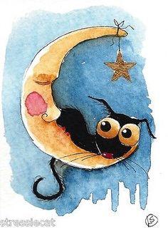 ACEO Original Watercolor Folk Art Illustration Stressie Cat Black Cat Moon Star   eBay