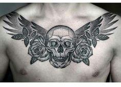 Skull w/ roses & wings