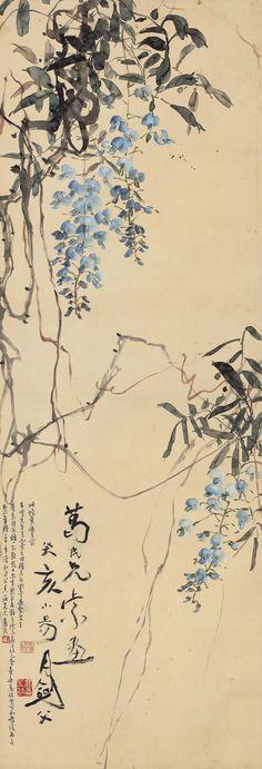 高剑父 gao, jianfu wisteria ||| flowers & birds ||| sotheby's hk0459lot6sz9ven