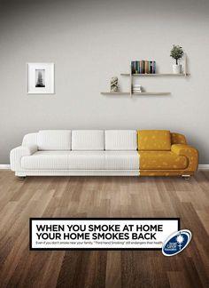 """"""" Quand vous fumez à la maison, votre maison fume à son tour. """"  / By Israel Cancer Association."""