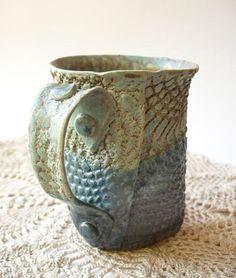Hand-built lace texture mug  - Rachel Miller  ( Windfall Arts Etsy )