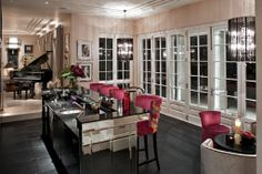 Black Lizard Effect Leather Floor And A Faceted Mirrored Bar © Hill House  Interiors