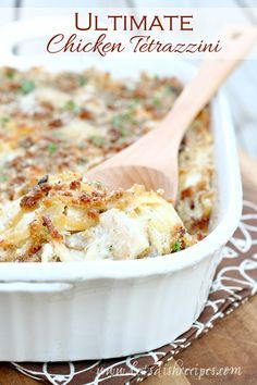 Ultimate Chicken Tetrazzini Recipe | Pasta and chicken in a delicious creamy sauce, baked with a topping of buttery breadcrumbs and Parmesan cheese.