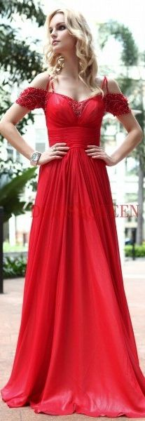 Unique Red Off-shoulder Formal Gown Floor-length Chiffon Beading Prom Dress 30601