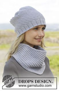 "Knitted DROPS hat and neck warmer with spiral pattern in ""Cotton Merino"". - Free pattern by DROPS Design"