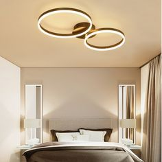 Circles Ring LED Semi Flush Ceiling Light in Black/Chocolate for Living Room,Ceiling Lights,Lighting Serene Bathroom, Semi Flush Ceiling Lights, Home Ceiling, Modern Contemporary, Light Colors, Circles, Kitchen Ideas, Bulb, Led