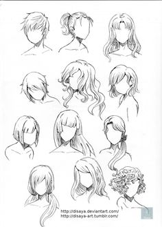 Hair reference 3 by Disaya. on Hair reference 3 by Disaya. Hair Reference, Art Reference Poses, Drawing Reference, Manga Drawing, Drawing Sketches, Art Drawings, Drawing Ideas, Drawing Tips, Anime Hair Drawing