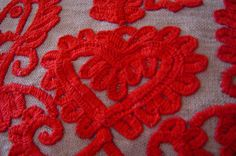 """hungarian """"broderie"""" made by hand on a pillow"""