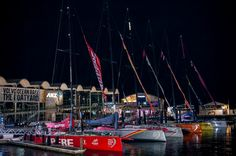 February, 2015. The six Volvo Ocean 65 moored in Acukland after the night arrivals from Leg - Xaume Olleros / Volvo Ocean Race