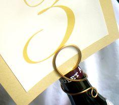 Wine Table Number Sign Holder for Weddings, Parties, Bridal Shower, Set of 20. $120.00, via Etsy.