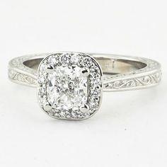 Platinum Contessa Ring Set with a 0.96 Carat, Cushion, Very Good Cut, E Color, VS2 Clarity Diamond (Modified Due to Diamond Shape)   brilliantearth.com