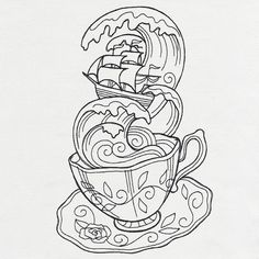 I genuinely am keen on the colorations, outlines, and detail. This is really a wonderful concept if you are looking for a Tattoo Sketches, Tattoo Drawings, Art Sketches, Tea Cup Drawing, Teacup Tattoo, Storm In A Teacup, Colouring Pages, Unique Tattoos, Doodle Art
