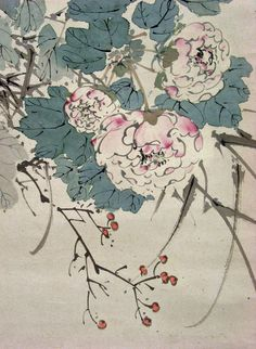 Yamamoto Baiitsu        1783~1856    A bird and flowers (detail)