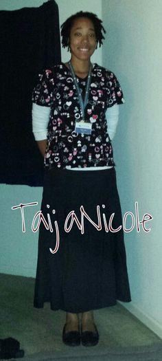 This is me before work about a month ago! Scrub skirt I ordered online… Nursing Clothes, Nursing Uniforms, Nursing Scrubs, Nursing Career, Modest Skirts, Modest Outfits, Modest Fashion, Scrub Skirts, Scrub Shoes