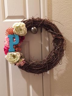 P Wreath!  I created this using the colors from a wedding bouquet.  Perfect way to customize a wedding gift and celebrate a new last name :)