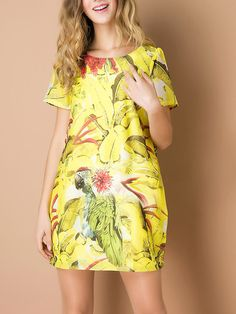 Yellow Shift Floral Print Dress