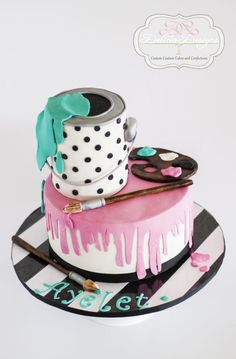 Paint Party Cake - Cake by Delicia Designs