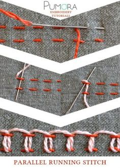 Hand Embroidery For Beginners parallel running stitch tutorial - Learn how to embroider with the lexicon of embroidery stitches. Step by step tutorials on how to do the running stitch and it's variations. Embroidery Stitches Tutorial, Learn Embroidery, Embroidery Needles, Silk Ribbon Embroidery, Crewel Embroidery, Hand Embroidery Patterns, Embroidery Techniques, Embroidery Kits, Machine Embroidery
