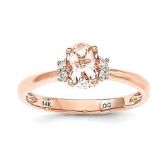 - Metal Material: 14k Rose Gold (solid) - Average Weight: 1.86gm - Genuine Diamond - Genuine Morganite Stone Type: Diamond Stone Creation Method:Natural Stone Shape:Round Stone Color:White Stone Size: