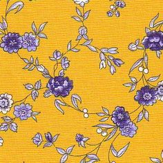 Yellow and blue Ramage fabric #384
