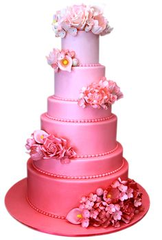 pink ombre + tiers w/ different heights...my 2 favorite cake trends atm! <3