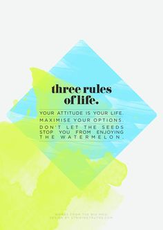 Three Rules of Life: Your Attitude is your Life. Maximize your Options. Don't let the Seeds stop you from enjoying the Watermelon.