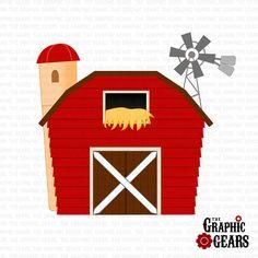Barn Clip Art  Red Barn House Barnyard Clip Art by GraphicGears, $2.00