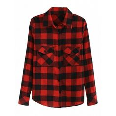 Choies Red Plaid Pocket Detail Button Up Long Sleeve Shirt ($15) ❤ liked on Polyvore featuring tops, red, long sleeve button up shirts, red plaid top, long-sleeve shirt, red shirt and red top