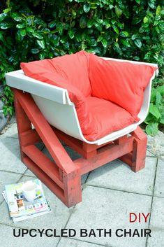 DIY Garden Chair, Upcycled bath chair, upcycle your old bath