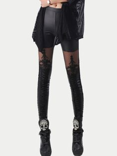 Shop Black Lace Insert Embroidered Leggings online. SheIn offers Black Lace Insert Embroidered Leggings & more to fit your fashionable needs.