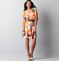 """Sun-Kissed Flowers Tiered Peasant Dress - We designed this vivacious peasant dress in the prettiest watercolor print ever for a dose of tropical flair. Boatneck. 1/2 notched dolman sleeves. Smocked front and back yoke. Solid ties at waist. Tiered seams with gathered details throughout. 21 3/4"""" from waist seam."""