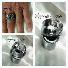 Anello acciaio inox creato dal manico di forchetta,  traforato a mano.  #lemaddine