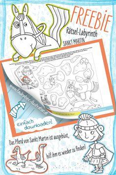 Das Pferd von Sankt Martin ist ausgebüxt, hilf ihm es wieder zu finden... Kindergarten, Labyrinth, Bullet Journal, Map, Writing, Reading, Homemade Lanterns, Owl Lantern, Lantern Festival