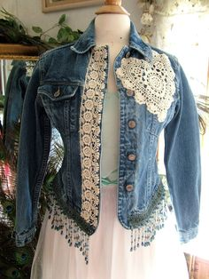 Repurposed denim jacket with added lace decor and by MarieDesignMD