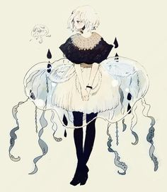 cute, anime, and girl image Jellyfish Drawing, Jellyfish Painting, Jellyfish Facts, Jellyfish Quotes, Jellyfish Tattoo, Jellyfish Aquarium, Jellyfish Tank, Watercolor Jellyfish, Jellyfish Light
