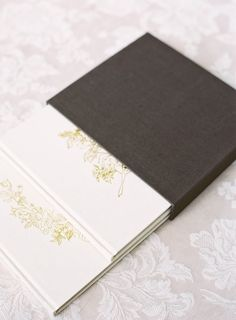 Double album slipcase in brown linen, with light linen albums mixed and matched | Heirloom Bindery Fine Art Wedding Albums | Albums for Film Shooters | Hand Bound | Photo Rag
