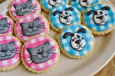 Dog cat cookies~                          By Sweet Smiles on Facebook, pink, blue, grey car, white dog