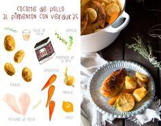 Cocotte de verduras y pollo al pimentón