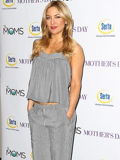 Star Tracks: Friday, April 29, 2016 |   MODEL BEHAVIOR   | Kate Hudson is the epitome of cool, wearing a striped two-piece outfit at screening of her new movie Mother's Day on Thursday in N.Y.C.