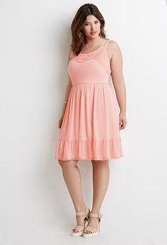 Crochet-Trimmed Babydoll Dress | Forever 21 PLUS - 2000076656