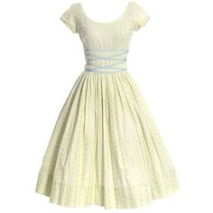 1950s Jerry Gilden Yellow Eyelet Vintage Dress ($95) ❤ liked on Polyvore featuring dresses, sun dresses, summer sun dresses, yellow dress, vintage dresses and white flower dress