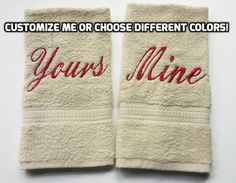 YOURS and MINE Embroidered Towel SET  Hand by TwistedStitches13