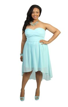 plus size strapless short party dress with pleated high low skirt